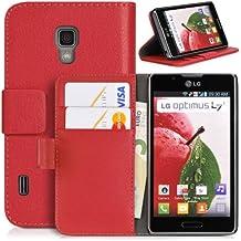 Donzo - Funda para LG P710 Optimus L7 II WALLET STRUCTURE - rot