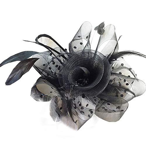 Weibliche Jockey Kostüm - Liuzecai Eleganter Blumenhut Federschmuck Braut Haar Mesh Hut Tops Jockey Club Haarschmuck Haarspangen (Color : Black, Size : Free Size)