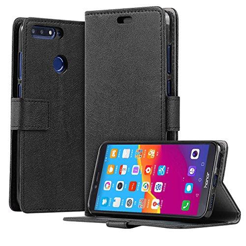 HDRUN Huawei Honor 7A Leder Hülle - Premium PU Leder Flip Tasche Case mit Kartensteckplätzen und Ständerfunktion Schutzhülle Handyhüllen für Honor 7A, Schwarz
