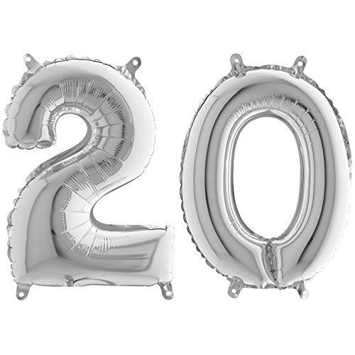 partydiscount24 Folienballon / Zahlenballon Set 10-100 Silber - XL Freie Zahlwahl + 1 Gratis Luftballon Silber (Metallic) Ø 30 cm (Zahl - 20, Ohne Heliumfüllung)