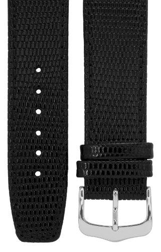Uhrenarmband 22 mm Leder schwarz, Eidechsen-Optik, Länge 75x115mm, Aluminium-Dornschließe