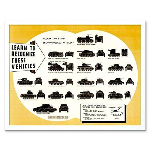 Mobile Chart (Wee Blue Coo LTD Propaganda War Wwii USA Tank Artillery Mobile Recognition Chart Identify Art Print Framed Poster Wall Decor Kunstdruck Poster Wand-Dekor-12X16 Zoll)
