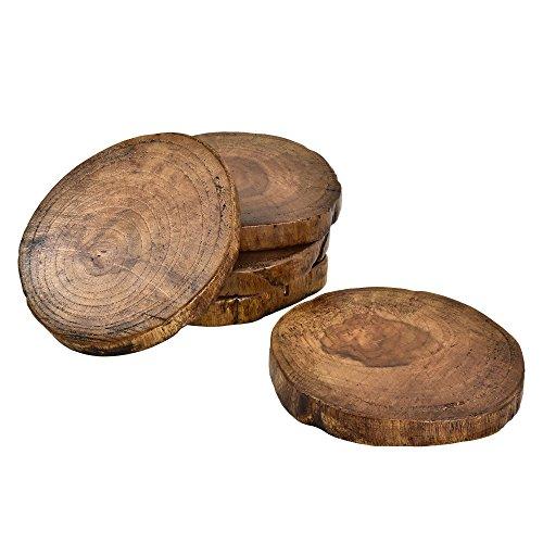 AeraVida Teak Holz Natur Tree Bark Untersetzer Set von 5 -