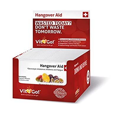 30-PACK VitGo! Hangover* Aid (*Electrolyte imbalance, tiredness and fatigue) - Food supplement for Rehydrating and Resupplying Nutrients. With Essential Electrolytes & Minerals + 7 B-Vitamins and 3 Amino Acids + Magnesium + Vitamin C and Zinc + MADE IN GE