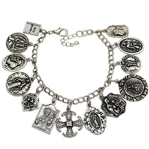 Q&Q Fashion katholischen Religiöse Kirche Medaillen Charm Heiligen beten für uns Kreuz Kette Armband (Kostüme Heiligen Katholischen)