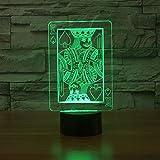 Best Lampes de table King - 7 Changement de couleur Creative Spade K. 3D Review
