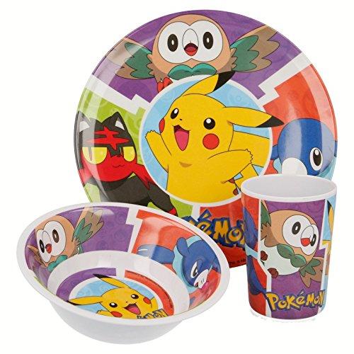 Set en mélamine 3 pièces. (Assiette, bol et gobelet) Pokemon