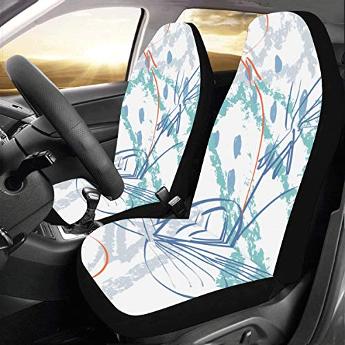 Rtosd Roughly Drawn Spring Flowers Seeds Custom New Universal Fit Auto Drive Car Seat Covers Protector for Women Automobile Jeep Truck SUV Vehicle Full Set Accessories for Adult Baby (Set of 2 Front) (Seat Chevy Custom Covers)