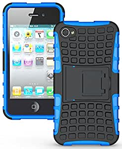 Heartly Flip Kick Stand Hard Dual Armor Hybrid Rugged Bumper Back Case Cover For iPhone 4 4S 4G - Blue