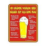 Blechschild Schild mit Motiv/Spruch '10 Gründe warum Bier' Größe 17 x 22 cm, Material rostfreies Aluminium 3 mm Bohrung an jeder Ecke