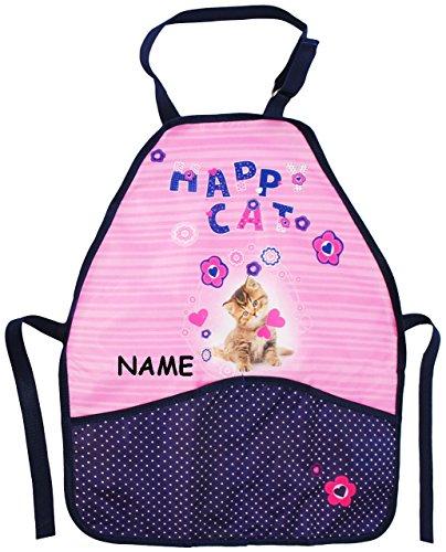 Unbekannt Kinderschürze -  süßes Kätzchen  - incl. Name - größenverstellbar & mit 2 Taschen - Schürze / beschichtet & wasserdicht - für Mädchen - Kinder - Backschürze.. -