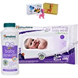 Himalaya Herbals Baby Powder (50g)+Himalaya Herbals Soothing Baby Wipes (24 Sheets) With Happy Baby Luxurious Kids Soap With Toy (100gm)