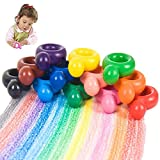 REFURBISHHOUSECrayones de Pintura de 12 Colores para Bebés, Crayones de Cera Lavables En Forma de Anillo para Niños Pequeños, Palma Juguete de Garabato Regalo para Niños, Chicos