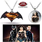 (2 Pcs COMBO SET) - SUPERMAN BATMAN - DAWN OF JUSTICE LOGO (BLACK/YELLOW) & WONDER WOMAN (SILVER) IMPORTED PENDANTS. LADY HAWK DESIGNER SERIES 2018. ❤ ALSO CHECK FOR LATEST ARRIVALS - NOW ON SALE IN AMAZON - RINGS - KEYCHAINS - NECKLACE - BRACE