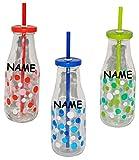 1 Stück _ Flasche / Glas / Trinkglas - mit Strohhalm u. Deckel - 440 ml - incl. Name - bunte Punkte & Farben - Trinkbecher als