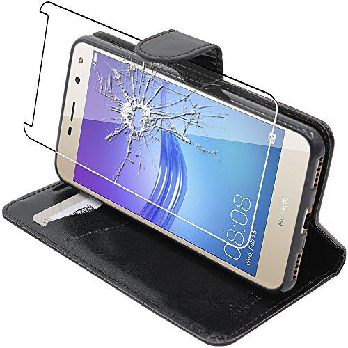 ebestStar - Etui Huawei Y6 2017 [Dimensions PRECISES de votre appareil : 143.8 x 72 x 8.4 mm, écran 5''] - Housse Coque Etui Portefeuille Support PU Cuir + Film protection écran en VERRE Trempé, Coule