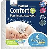 Babysom - Matelas Bébé Confort+ - 70 x 140cm - Ultra Ventilé - Déhoussable -...