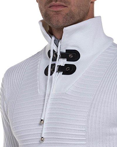 BLZ jeans - Fein eng stricken weißen Pullover Kragen Dual Weiß