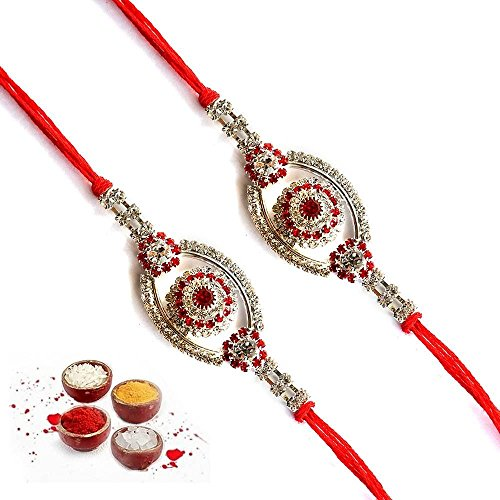 Kanisha Creations Set Of Two Red Stone Silver Rakhi For Brother