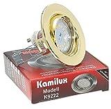 Set Einbaustrahler Finn in Gold mit super flaches (weniger als 3cm) Power SMD LED Modul 230V -5W in Lichtfarbe-warmweiß 3000Kelvin,dimmbar mit einem herkömmlichen Lichtschalter, 3-Stufen Dimmung