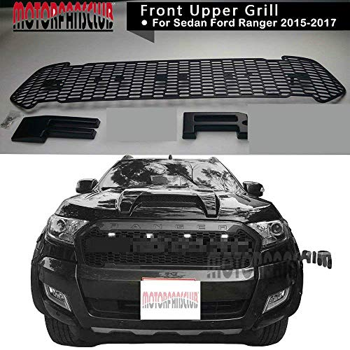 Black LED Grille Grill Front Bumper for Ranger T7 Pickup Raptor Style 2015  2016 2017 with 4-LED Light