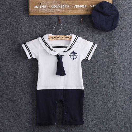 Boy Girl Kleidung Sailor Kostüm Anzug Kleinkind Bebes Strampler Hut 0-24 Mt Infant Kinder Playsuit,Marineblau,10-12 Monate (Baby Sailor Hut)