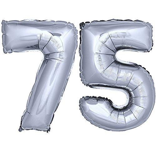 DekoRex® Folienballon Zahlenballon Luftballon Geburtstag Deko 40cm Silber Zahl: 75