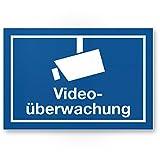 Videoüberwachung Hinweis Kunststoff Schild (blau), Hinweisschild Innen/Außen, Warnhinweis Videoüberwacht Einbruchschutz, Hinweis Prävention von Einbrüchen - Abschreckung, Infozeichen