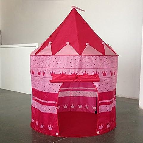 Tente de Jeu Cabane Pop-up Château de Princesse Pour Enfant à l'Intérieur ou Extérieur Maison Plage - Rose