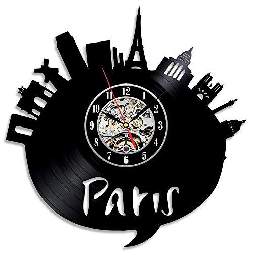 is Stadt Thema Vinyl Wanduhr Schlafzimmer Dekoration La Crosse Dial Vision Wohnzimmer ()