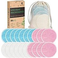 Abschminkpads Waschbare,20 Wiederverwendbare Wattepads Gesichtsreinigungspads aus Bambus & Samt,Makeup Entferner Pads,Umweltfreundlich Abschminktücher Set mit Wäschebeutel