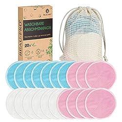Abschminkpads Waschbare,20 Wiederverwendbare Wattepads|Gesichtsreinigungspads aus Bambus & Samt,Makeup Entferner Pads,Umweltfreundlich Abschminktücher Set mit Wäschebeutel