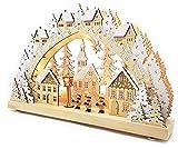 Wichtelstube-Kollektion Echtholz LED Schwibbogen mit Timer Weihnachtsdorf im Erzgebirge Original Leuchter Schwippbogen Lichterbogen