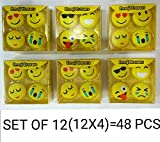 #1: MSGH Smiley/Emoji Erasers For School Going Kids/Birthday Party Return Gift Pack OF 6 (6 X 4 = 24 Pcs) + 6 Pcs Thankyou Card Free (48)