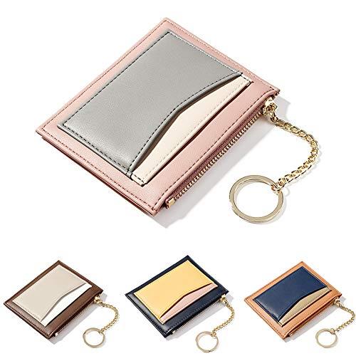 ZhaoCo Reißverschluss Tasche, PU Leder Geldbörse Karten Halter Geldbeutel Mappe Münzen Taschen Geld Organisator für Frauen Mädchen Damen (Rosa)
