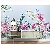 Meaosy Hochwertigen Schönen Tapeten Pastoralen Hortensien Blumen Blumen Hintergrund Fototapeten Wallpaper 3D Wallpaper-150X120Cm