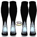 (2 pares) Calcetines / medias de compresión para hombres y mujeres, mejor circulación sanguínea, prevención de coágulos de sangre, recuperación acelerada, mejor ajuste atlético graduado para correr, e (Black & Grey, L/XL (Women 5.5-13 / Men 7-13.5) 2 PAIR)