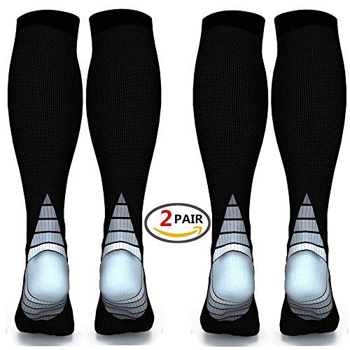 Foto de (2 pares) Calcetines / medias de compresión para hombres y mujeres, mejor circulación sanguínea, prevención de coágulos de sangre, recuperación acelerada, mejor ajuste atlético graduado para correr, e (Black & Grey, L/XL (Women 5.5-13 / Men 7-13.5) 2 PAIR