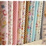 Shi Tong - Lote de tela de algodón para patchwork y manualidades, 12 diseños de flores pequeñas, 24x 24cm, color rosa