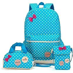 Bcony Conjunto de 3 Dot lindo Las mochilas escolares universidad/bolsas escolares/mochila niños niñas adolescentes + mini bolso + bolso crossbody,Azul + Amarillo