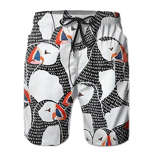 Nacasu Mens Puffin Drawing 3D Swim Trunks Quick Dry Summer Underwear Surf Beach Shorts Elastic Waist with Pocket Drawstring XXL