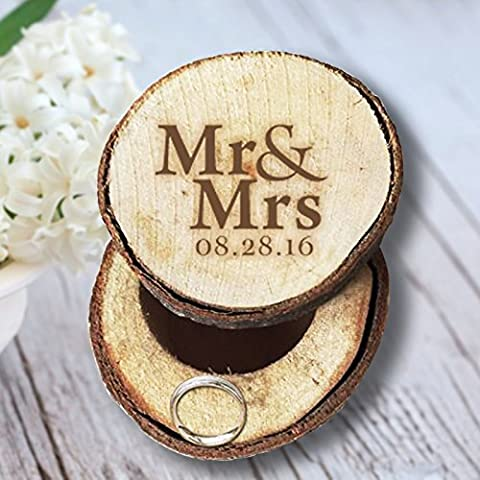 Mr and Mrs Wedding Ring Box Wood Personalised Date Ring Holder for Bearer Wedding Gifts for Couples
