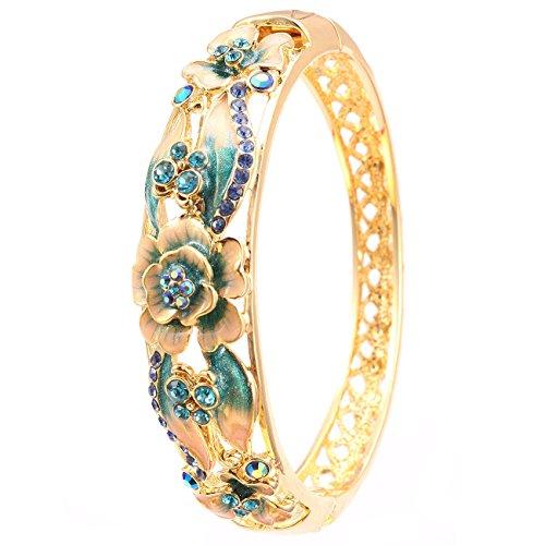City Ouna® 18ct amarillo oro joyería flor esmalte brazalete pulsera para mujer con elementos de Swarovski azul cristal