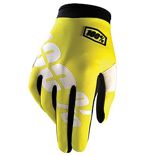 100% Prozent iTrack Kinder Handschuhe Clarino MTB DH MX Motocross Enduro Offroad Quad, HU-GLO-0003, Farbe Neon Gelb, Größe M