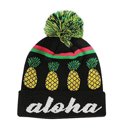 65c5e4edaf0 ChoKoLids Aloha Pineapple Pom Pom Beanie Fun Novelty Hats (Black)