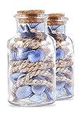 Heitmann Deco - Glasflasche mit blauen Muscheln und Tauwerk - maritime Deko für Sommer und Frühling - Tischdeko