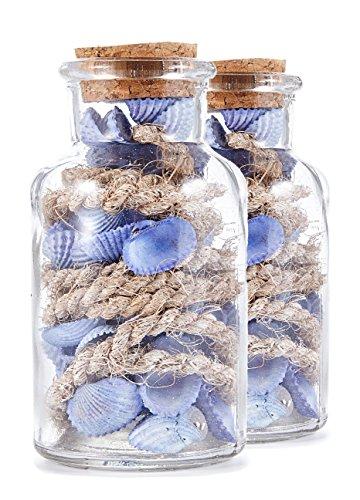 HEITMANN DECO 2 pièces. Set de Bouteilles en Verre avec Coquillages, Bleu, 11 x 11 x 11 cm, de 2 unités