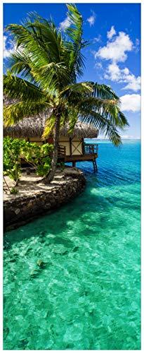 Wallario XXL Poster - Karibisches Meer - Einsame Hütte unter Palmen in Premiumqualität, Größe: 80 x 200 cm