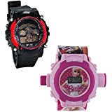 Shanti Enterprises Combo Barbie 24 Images Projector Watch And Sports Watch Multi Color Dial For Kids - B07572RZJL