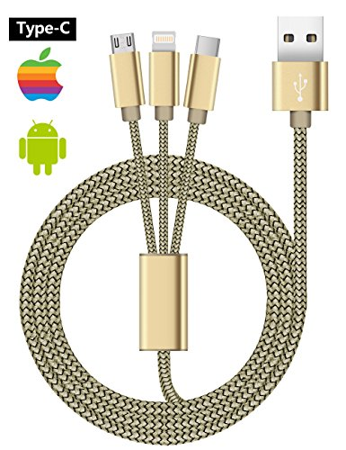 Coolden® 3 in 1 Ladekabel 2.1A Quick Charge Micro USB/USB C/Apple Kabel 1.2m Lightning Cabel Multi 3 Kabel für iPhone iPad, Kindle,Samsung Galaxy, HTC, Huawei, Moto, LG, Sony und weitere iOS / Android Geräte (Micro USB Kabel*1+Apple Kabel*1+Type C Kabel*1) (Apple G5 Tastatur Bluetooth)